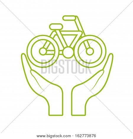 hands with bicycle icon over whtie background. colorful design. vector illustration