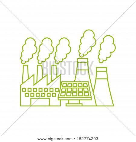 factory building and solar panel icon over white background. vector illustration