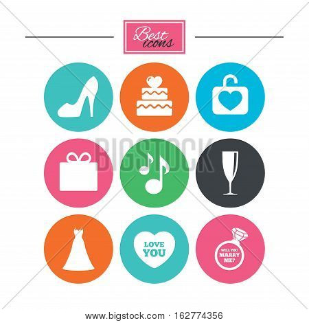 Wedding, engagement icons. Cake with heart, gift box and brilliant signs. Dress, shoes and musical notes symbols. Colorful flat buttons with icons. Vector