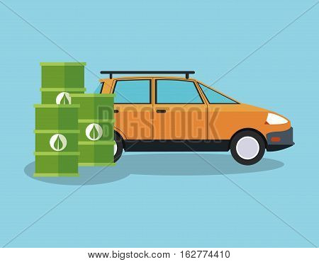 Bio fuel barrel and car icon. Ecology renewable and conservation theme. Colorful design. Vector illustration