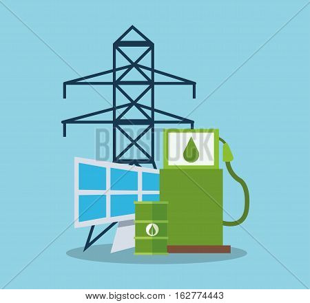 Bio fuel and solar panel icon. Ecology renewable and conservation theme. Colorful design. Vector illustration