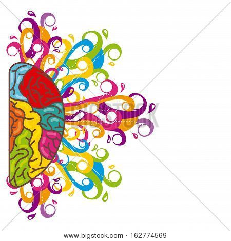 creative hemisphere brain organ icon over white background. colorful design. vector illustration