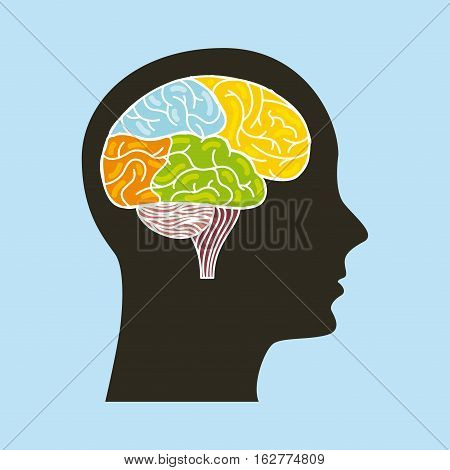 profile head with colorful brain icon over blue background. vector illustration