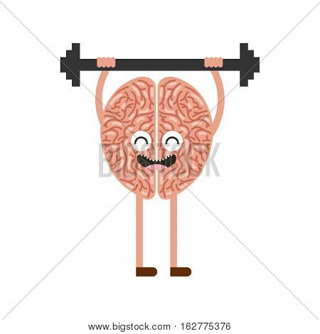cartoon brain with dumbbells icon over white background. colorful design. vector illustration