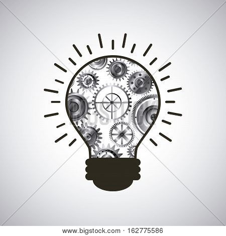 bulb light with gears icon over white background. colorful design. vector illustration