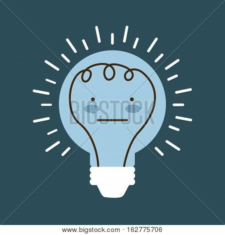 cartoon bulb light with happy face icon over blue background. colorful design. vector illustration