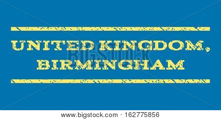 United Kingdom, Birmingham watermark stamp. Text tag between horizontal parallel lines with grunge design style. Rubber seal stamp with dust texture.