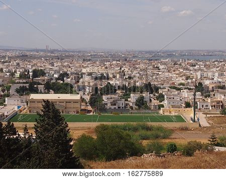 Panorama, view of modern Carthage from ancient ruins, Tunisia