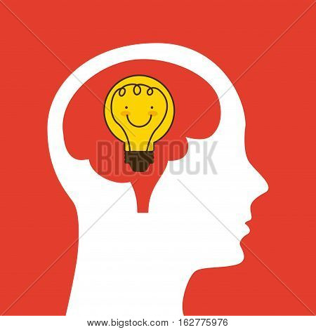 profile head with bulb light icon over red background. colorful design. vector illustration