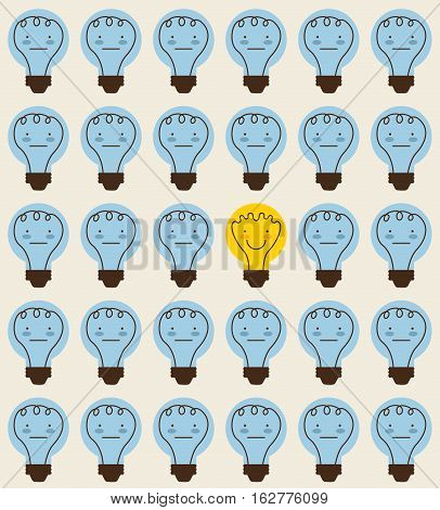 background of cartoon bulbs lights icon. colorful design. vector illustration