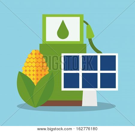 Bio fuel solar panel and corn icon. Ecology renewable and conservation theme. Colorful design. Vector illustration