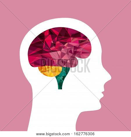 profile head with human brain icon over pink background. colorful design. vector illustration