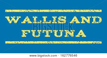 Wallis and Futuna watermark stamp. Text caption between horizontal parallel lines with grunge design style. Rubber seal stamp with dust texture. Vector yellow color ink imprint on a blue background.