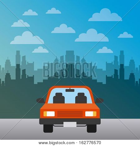 car vehicle icon over city background. colorful design. vector illustration