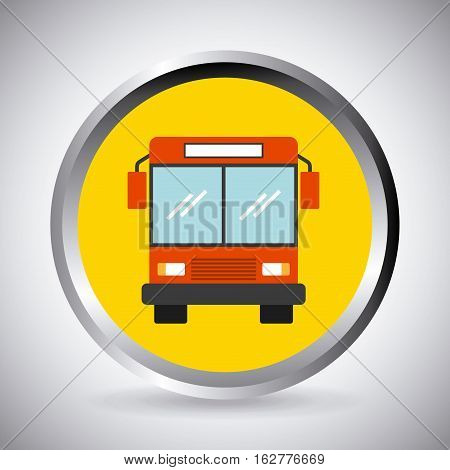 button with bus vehicle icon over white background. colorful design. vector illustration