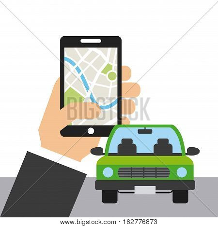 hand with smartphone device and autonomous car icon over white background. colorful design. vector illustration