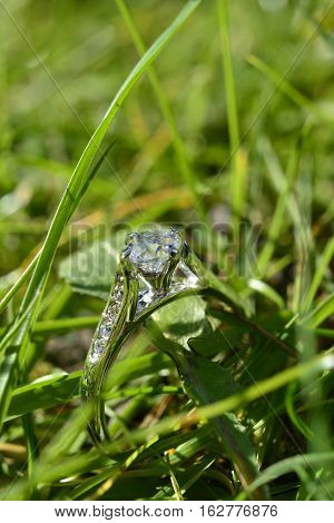 Engagement ring in grass, sun shining through on an angle