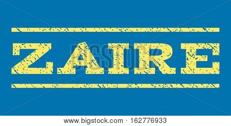 Zaire watermark stamp. Text caption between horizontal parallel lines with grunge design style. Rubber seal stamp with dirty texture. Vector yellow color ink imprint on a blue background.