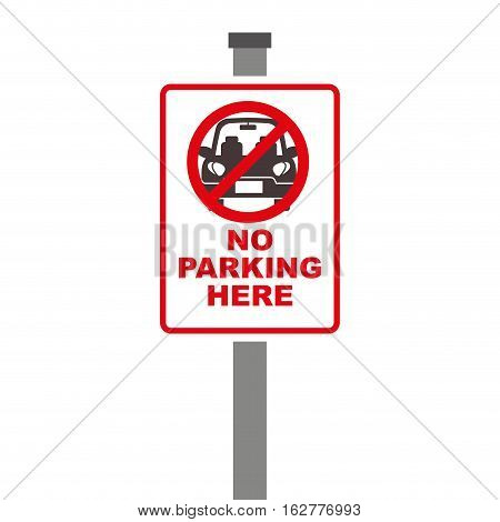 forbidden sign of parking zone over white background. colorful design. vector illustration