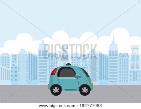 autonomous car icon over city background. colorful design. vector illustration