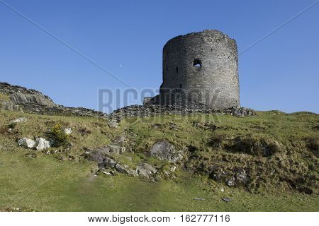 Dolbadarn Castle Keep with moon, Llanberis, 13th century, Padarn lake
