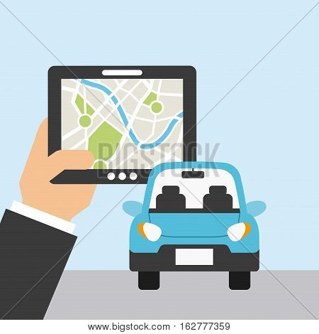hand holding a tablet and autonomous car icon. colorful design. vector illustration