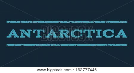 Antarctica watermark stamp. Text caption between horizontal parallel lines with grunge design style. Rubber seal stamp with dirty texture. Vector blue color ink imprint on a dark blue background.