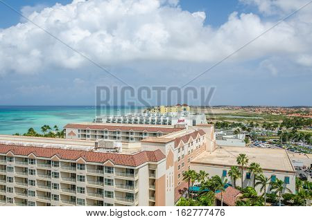 Aerial Panorama View Of Hotels Building In Aruba