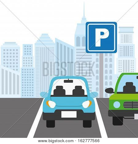 car parked in parking zone. colorful design. vector illustration