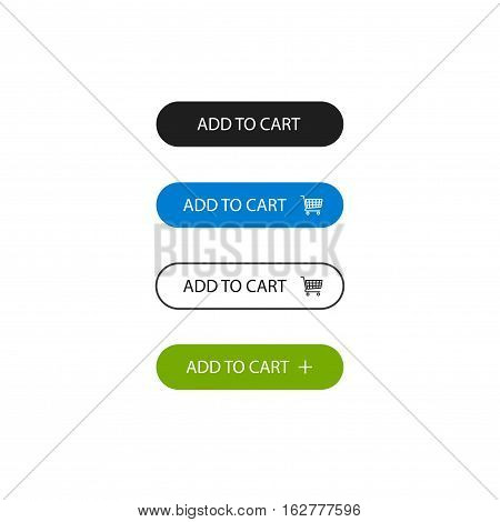 Add to cart buttons vector set isolated on white background, flat line outline style add to basket blue green black color button