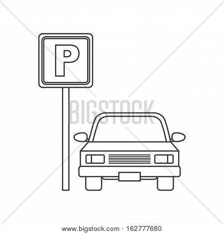 parking zone sign with car icon. vector illustration