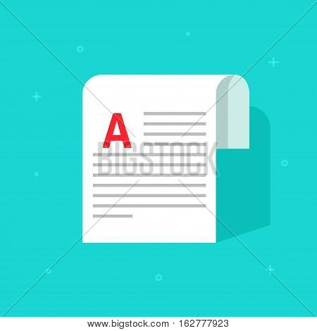 Copywriting document with abstract text vector illustration isolated on blue color background, printed media paper sheet symbol, flat style note, blog or newspaper page idea