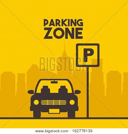 parking zone sign with car icon over yellow background. colorful design. vector illustration