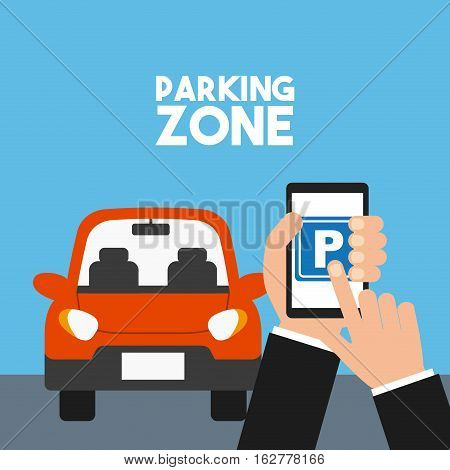 parked car in parking zone and hand holding a smartphone with park icon on screen. colorful design. vector illustration
