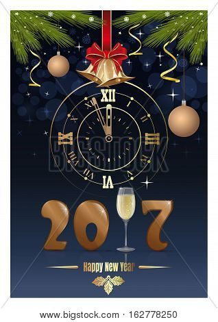 Gold figures New Year 2017, clock, glass of champagne, jingle bells, fir branches and red ribbon with a bow. Happy New Year. Vector Christmas card
