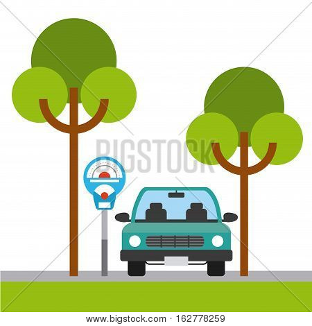 parked car in parking zone with trees icon. colorful design. vector illustration