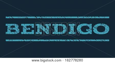 Bendigo watermark stamp. Text caption between horizontal parallel lines with grunge design style. Rubber seal stamp with dirty texture. Vector blue color ink imprint on a dark blue background.