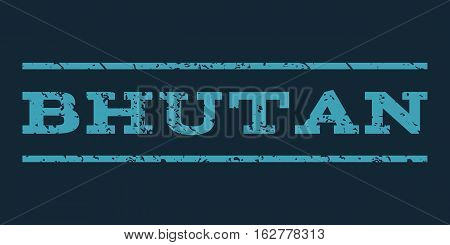 Bhutan watermark stamp. Text tag between horizontal parallel lines with grunge design style. Rubber seal stamp with dirty texture. Vector blue color ink imprint on a dark blue background.