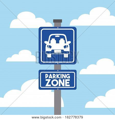 parking zone sign with car icon over sky background. colorful design. vector illustration