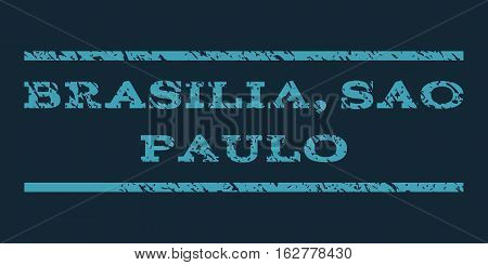 Brasilia, Sao Paulo watermark stamp. Text tag between horizontal parallel lines with grunge design style. Rubber seal stamp with dust texture. Vector blue color ink imprint on a dark blue background.