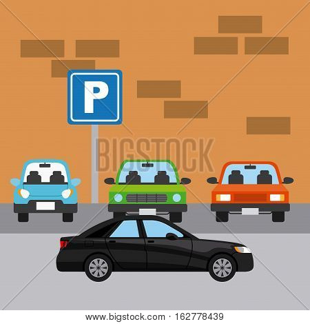 parked cars in a parking zone and black car. colorful design. vector illlustration