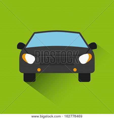 black car vehicle icon over green background. colorful design. vector illustration