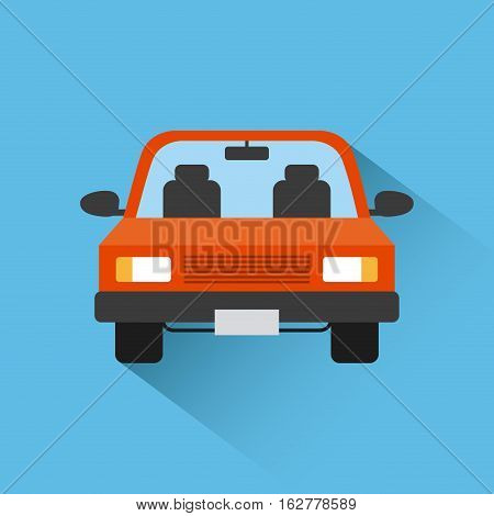 red car vehicle icon over blue background. colorful design. vector illustration