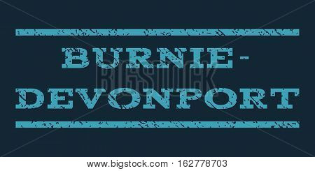 Burnie-Devonport watermark stamp. Text caption between horizontal parallel lines with grunge design style. Rubber seal stamp with unclean texture.