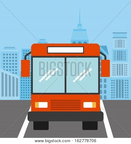 bus vehicle icon over the road street. colorful design. vector illustration