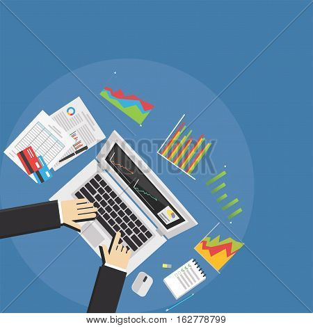 Save Download Preview Business colleagues analyzing financial statement. Business analyst concept.
