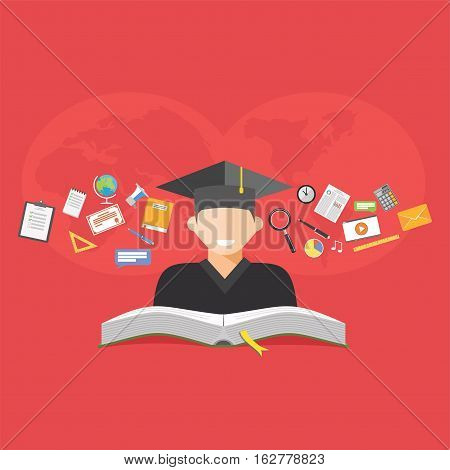 Education concept. E-learning. Abstract concept of sharing knowledge