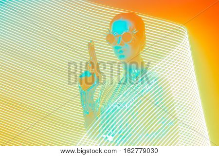 Secret Agent with Gun in Pop Art Light Painting Effect Backdrop