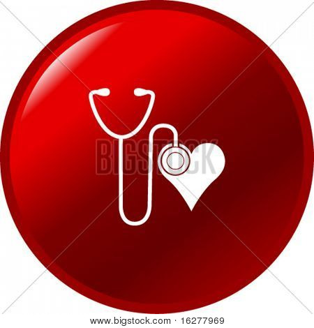 stethoscope and heart button