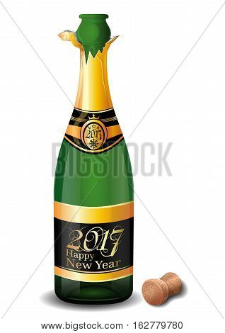 Champagne 2017. Uncorked a bottle of champagne with the inscription on the label - Happy New Year 2017. Vector illustration isolated on white background